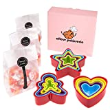 Afleur 15 PCS Cookie Cutters with Gift Bag and Stickers - Biscuit Cutters Premium Design Shapes - Star Hearts Gingerbread with Cookie Bags and Stickers