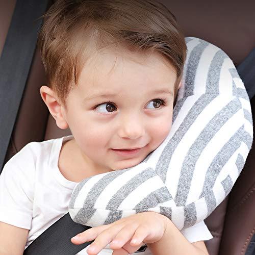 Xnuoyo Nackenstützkissen Kinder, Hochwertiges Auto Schlafkissen, Nackenkissen Nackenhörnchen, Auto Sicherheitsgurt Kissen, Sitzgurt Gurtpolster für Kinder und Erwachsene (Grey)