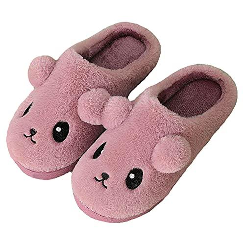 YELAN Zapatillas de felpa de animales para hombres y mujeres, zapatillas de espuma viscoelástica antideslizantes para exteriores / interiores (37/38, Purple, numeric_37)