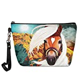 UZZUHI Waterproof Cosmetic Bag Zipsple with Travel Vacation Business Trip Gym,Unique Art Brown Horse Mountain, Durable Makeup Case Sturdy for Women Ladies Girl