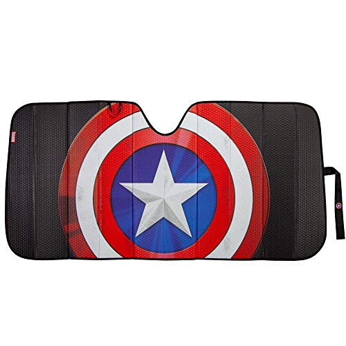 Plasticolor 003830R01 Marvel Captain America Shield Logo Black Matte Finish Car Truck or SUV Front Windshield Sunshade
