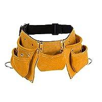 Cinturón de herramientas de piel de vacuno multiusos para niños, ajustable, bolsa de herramientas, delantal para disfraces, disfraz, juego de rol, amarillo