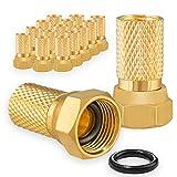 16x F-Stecker 7mm Vergoldet mit Gummidichtung breite Mutter für Koaxial Antennenkabel Sat Kabel BK Anlagen HB-DIGITAL Set HB-Digital