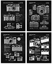 Vintage Leica M3 R4 & Rollei Camera B&W Patent Poster Prints, Set of 4 (8x10) Unframed Photos, Wall Art Decor Gifts Under 20 for Home, Office, Man Cave, College Student, Teacher, Photography Fan