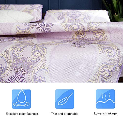 Zomer Koelmat Opvouwbaar, 3D Afdrukken Opvouwbaar Opvouwbaar Zomerijs Zijden Hoes Koelmat met Kussensloop Technologie Tatami Matras Opvouwbare Slaapmat Thuisleven(90 * 195cm pillowcase: 48 * 74cm * 1)