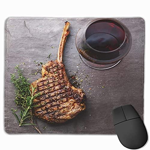 Gaming-Mauspad, Premium-strukturierte Mauspad-Pads, süßes Mousepad für Spieler, Büro und Zuhause über dem Grill Gegrilltes Rindfleisch-Barbecue-Kalbsrippensteak auf Knochen und Rotwein-Steinschiefer d