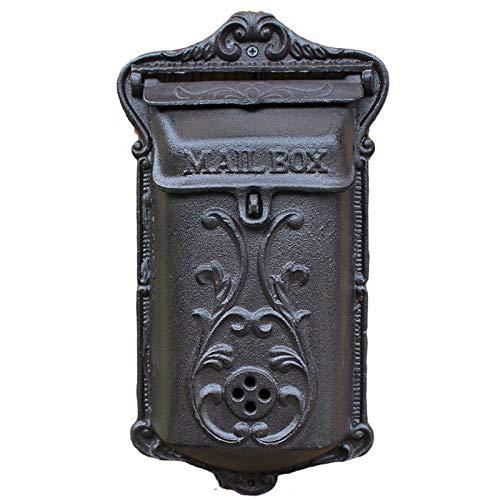 SSZY Briefkasten Vertikale Wandmontage-Briefkästen Aus Gusseisen, Verriegelung Vintage Kleinen Außen Garten Wohn Briefkasten, Schwarze Sicherheitsmailbox