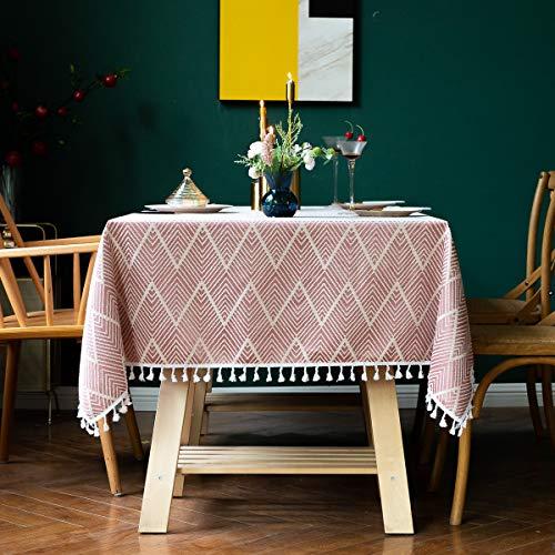 AMITRIS Tischdecke mit hochwertigen amerikanischen Quaste, rechteckige Tischtuch, Leinen Tischdecke, Abwaschbare Leinendecke für Wohnzimmer Küche Tischdekoration (Rot,...