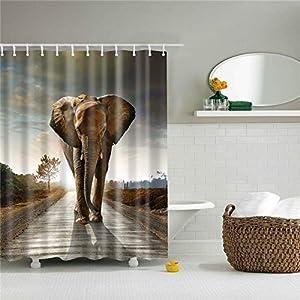 Elephant Shower Curtain Set Fabric Shower Curtain, Cute, Huge, Gentleman, Smart Elephant and Giraffe Bathroom Decoration, with 12 Hooks (Style6,180x180cm(70.8''x 70.8''))