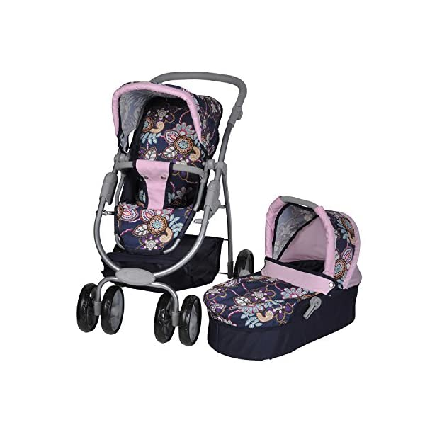 Knorrtoys 90778 Blue Flowers knoortoys Doll Carriage Coco Knorrtoys Height adjustable handle (43-82 cm) Purchases can be stored in the shopping basket Used as a pram with carrycot or sports buggy it always looks great 1