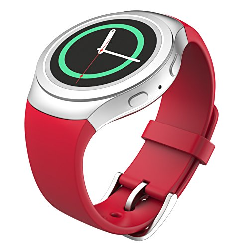 MoKo Soft Silicone Replacement Sport Band for Samsung Galaxy Gear S2 Smart Watch - Rojo (Not Fit Gear S2 Classic SM-7320 Version)