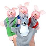 Vovotrade® 4PCS Trois Petits Cochons et Marionnettes de Doigt de Loup Cadeaux de Noël de Marionnettes de Main (Multicolore)