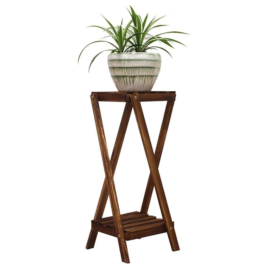 チェス低い木製の植物スタンド、現代の植木鉢ディスプレイ鉢植えラックホルダーフラワースタンド屋内/屋外の装飾、(ダークブラウン、様々なサイズ)