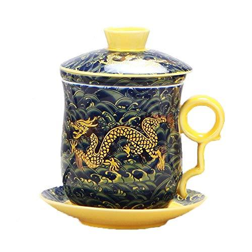 Set von Teetasse mit Teesieb, Deckel und Untertasse, chinesisches Drachenmuster, 4 Farben, aus chinesischem Porzellan, persönliche Teetasse, 400 ml dunkelgrün