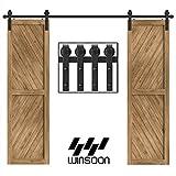WINSOON 5-18FT Sliding Barn Wood Door Hardware Cabinet Closet Kit Antique Style for Double Doors Black Surface (9FT /108' 2 Doors Track Kit)