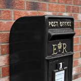 Royal Mail Post Box ER Cast Iron Wall Mounted Wedding Authentic Pillar Replica Lockable Post Office Letter Box Black