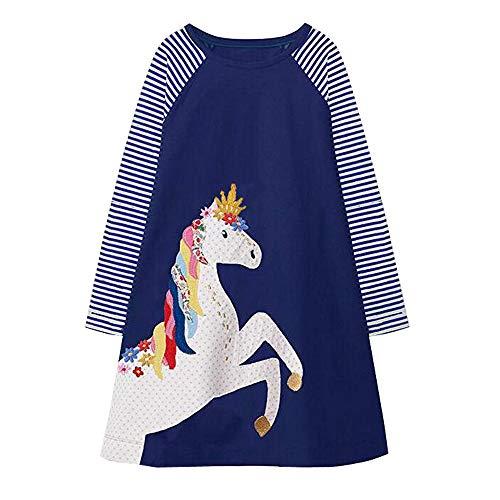 VIKITA Mädchen Baumwolle Langarm Streifen Tiere T-Shirt Kleid EINWEG JM7655 4T