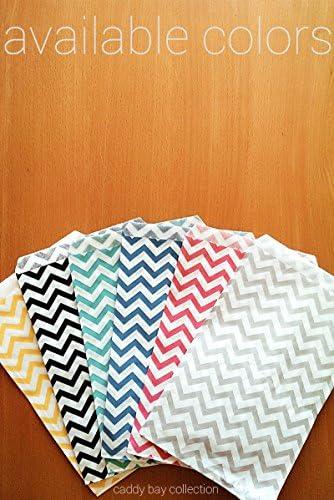 Blue - 6 x 9 100 pcs Chevron Paper Gift Bags Shopping Sales Tote Bags