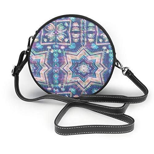 Ameok-Design Cleo Boho - Bolso bandolera de piel sintética multifuncional, para ir de compras, de viaje, redondo