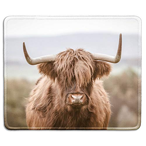 dealzEpic - Art Mousepad - Natural Rubber Mouse Pad Printed with Highland Cattle Cow - Stitched Edges - 9.5x7.9 inches