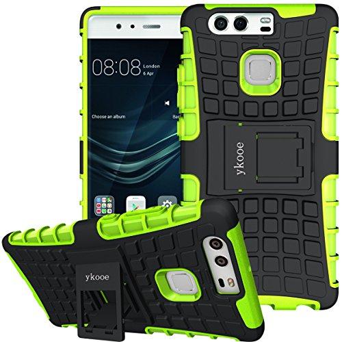 ykooe Custodia Huawei P9,Cover P9 (TPU Serie) Doppio Strato Ibrido Cellulari Case Assorbimento Scossa Protezione Silicone Custodia con Supporto per Huawei P9 (Verde)