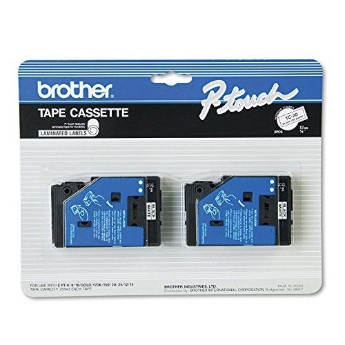"2/Pack 1/2"" (12mm) Black on White P-Touch TC Tape for Brother PT-25, PT25 Label Maker"