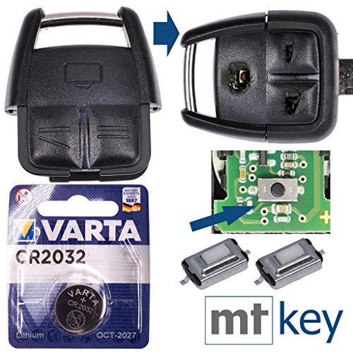 Repair Reparatur Satz Auto Schlüssel Austausch Gehäuse mit 3 Tasten + Drucktaster + Batterie kompatibel mit Opel Vectra C Signum