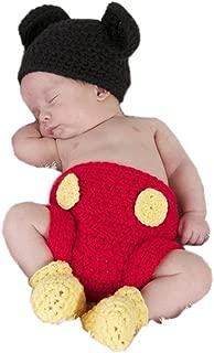 Newborn Photography Prop Baby Costume Crochet Mouse Hat Cap Diaper Shoes
