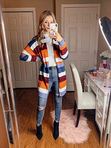 ECOWISH Womens Floral Striped Draped Kimono Cardigan Long Sleeve Open Front Casual Knit Sweaters Coat Floral L