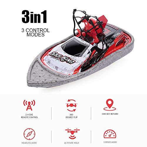 Donci 3 en 1 Drone Boat Car Sea Air Modo terrestre Modo 3 Altitude Hold Headless Modo RC Boat Quadcopter Car RTF