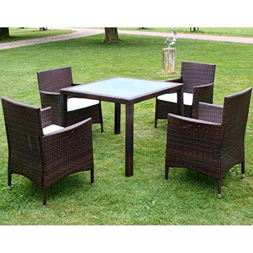 Furnituredeals Ensemble table et chaises de jardin 9 pièces polyrotin léger marron.Ce lot de haute qualité sont robuste et résistant.Idéal pour jardins et extérieur