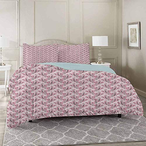 YUAZHOQI Japanese 100% Washed Microfiber 3pcs Bedding Set California King, Hand Drawn Blossoming Sakura Branches Cherry Tree Spring Nature Soft and Breathable with Zipper Closure & Corner Ties