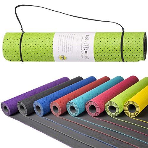 Tappetino Yoga Ginnastica Fitness Pilates Sport antiscivolo atossico per la casa e l'area professionale di fisioterapia e studio 183 x 61 x 0,5 cm in schiuma TPE + anello di trasporto (Verde)