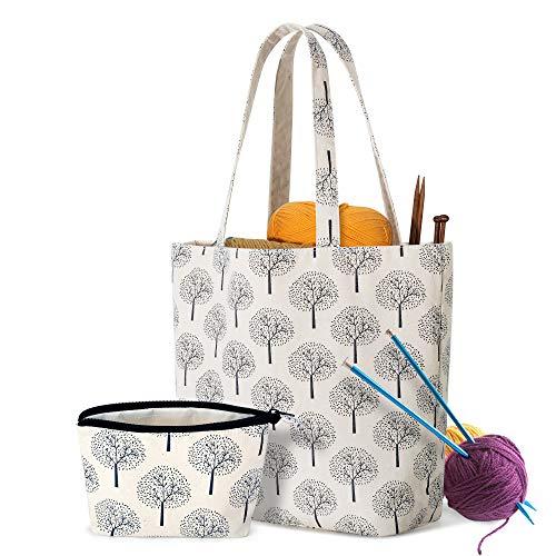 Yarwo Tragetasche für Wolle, Stricktasche für Unterwegs, Handtasche für Häkelgarn und Stricken Zubehör, Handarbeitstasche für Strick Anfänger, Baum