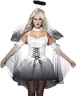 Fallen Angel Dress Costume Halloween Carnival Fancy Dark Angel Devil Fairy Wings Costume Dresses Skirt Women Black Mysteri...