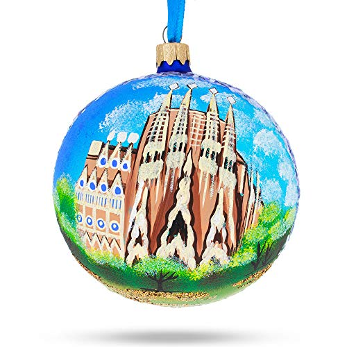 BestPysanky La Sagrada Familia, Barcelona, Spain Glass Ball Christmas Ornament 4 Inches