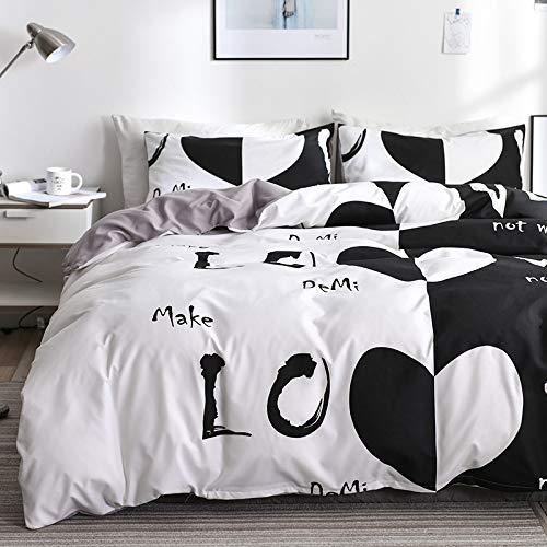 Funda nórdica Love, juego de cama de 3 piezas con estampado de corazón blanco y negro (1 funda nórdica y 2 fundas de almohada) Juego de cama de microfibra ultra suave y cómodo