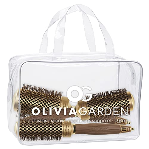 Olivia Garden NanoThermic Ceramic + Ion Round Thermal Hair Brush NT-34, NT-44, NT-54 (3-Piece Deal)