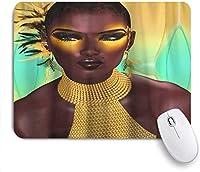マウスパッド、カラフルなスターイエローアイシャドウアフリカの女性のデザイン、カスタマイズされたマウスパッドノンスリップラバーゲームマウスパッド長方形のコンピュータパッド用マウスパッド