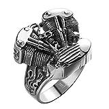 Aeici Argento Nero Anelli per Uomo Acciaio Inossidabile Anelli del Pollice del Motore Dimensione 20