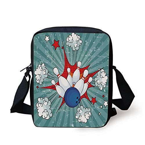 Bowling Party Decorations,Retro Comic Cartoon Style Ball Crash Pop Art Blast Stars Aiming,Multicolor Print Kids Crossbody Messenger Bag Purse