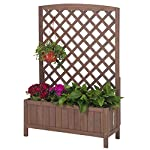 """GUTINNEEN Garden Planter Box Raised Bed with Trellis for Vegetable and Tomato Flower Standing Lattice Panels for… 6 Made of 100% Solid Fir Wood,perfect for indoor and outdoor use,provide a gardening solution constructed to last through every season OVERALL DIMENSIONS: 31.1""""(L) x 12.2""""(W) x47.2""""(H) Herb garden bed perfect for all kind of flower, vegetable,tomato and other planters.Can standing on yard, terraces, balconies, corridors,patios turn your space into a green one. Wood trellis creates a good stable environment for your creeping and vine plants. In addition, the lattice can also hanger plants or any kind of Light gardening tools."""