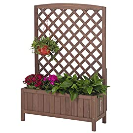 """GUTINNEEN Garden Planter Box Raised Bed with Trellis for Vegetable and Tomato Flower Standing Lattice Panels for… 1 Made of 100% Solid Fir Wood,perfect for indoor and outdoor use,provide a gardening solution constructed to last through every season OVERALL DIMENSIONS: 31.1""""(L) x 12.2""""(W) x47.2""""(H) Herb garden bed perfect for all kind of flower, vegetable,tomato and other planters.Can standing on yard, terraces, balconies, corridors,patios turn your space into a green one. Wood trellis creates a good stable environment for your creeping and vine plants. In addition, the lattice can also hanger plants or any kind of Light gardening tools."""