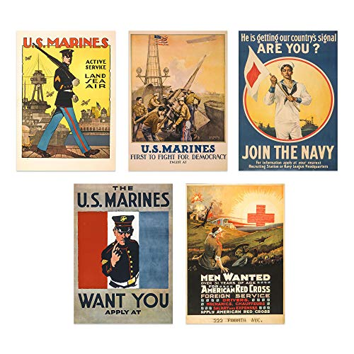 WW1 Poster Prints - Set of 5 Unframed (8x10 inches World War 1 Propaganda Prints - Vintage Wall Art - Recruitment Posters - WWII Military Decor - Set 1