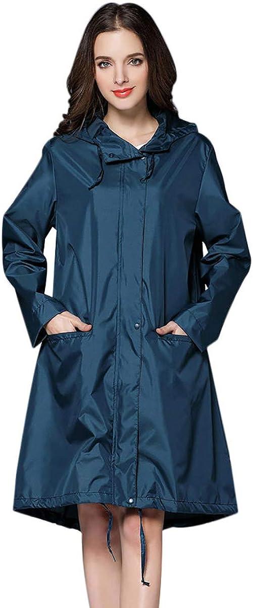 THOMAS HOME Women Rain Jacket,Packable Rain Jacket Women Rain Coat Hood Waterproof Plus Size
