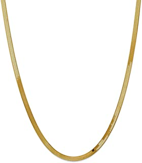 Solid 14k Yellow Gold 4.0mm Silky Herringbone Chain Necklace - with Secure Lobster Lock Clasp