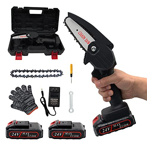 Mini Chainsaw, Electric Saw Cordless Handheld Chainsaw for Daily Use, with 2 Lithium Battery and 2 Chain Saw, Rechargeable Electric Chainsaw for Wood Cutting Fruit Tree Pruning and Logging