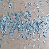 D/H kn31Brautschmuck/Hochzeitskleid von gesticktes 3d-Blume mit 0, 5-Blumenmuster babyblau