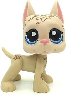 jjlin Mini Pet Shop Pets Tan Deco Great Dane Dog Flower Tattoo Blue Eyes LPS