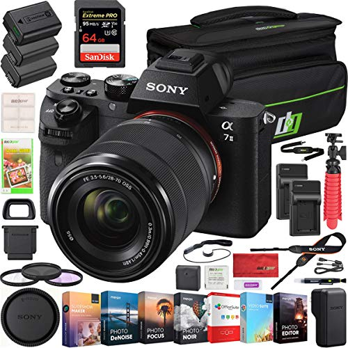 Sony a7 II Full-Frame Alpha Mirrorless Digital Camera a7II ILCE-7M2 K with FE 28-70mm F3.5-5.6 OSS Lens Kit and Deco Gear Professional Photo Video Camera Case 2X Extra Battery Power Editing Bundle